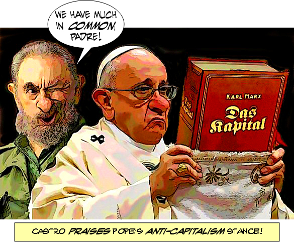 Image result for pope francis communist cartoon